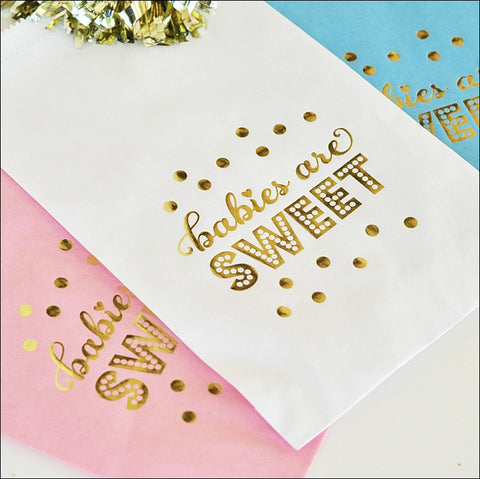 Babies Are Sweet Gold Treat Bags Set of 24 - Jaclyn Peters Designs - 1