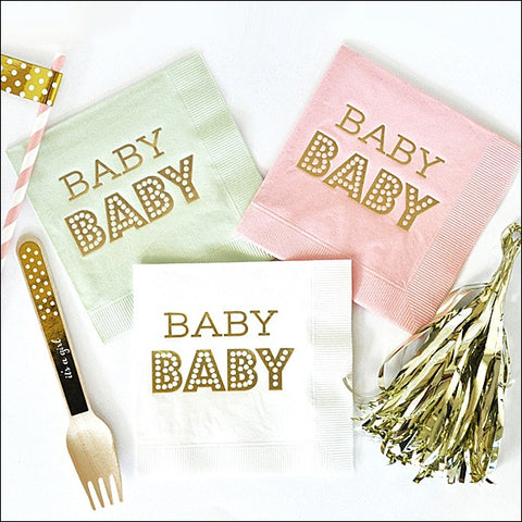 Baby Shower Gold Foil Napkins Set of 50 - Jaclyn Peters Designs - 1