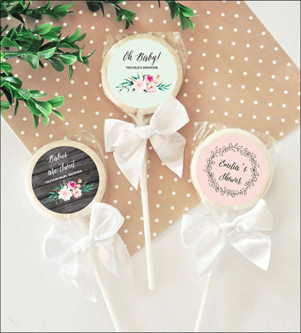 Personalized Boho Chic Baby Shower Lollipop Favors With Bow Set Of 12