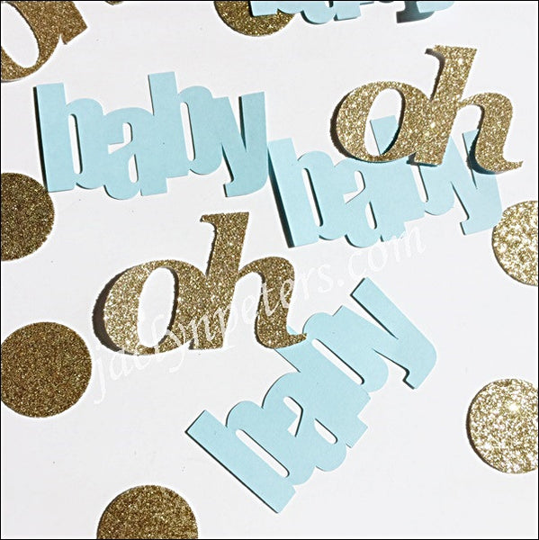 Oh Baby Blue And Gold Glitter Shower Confetti