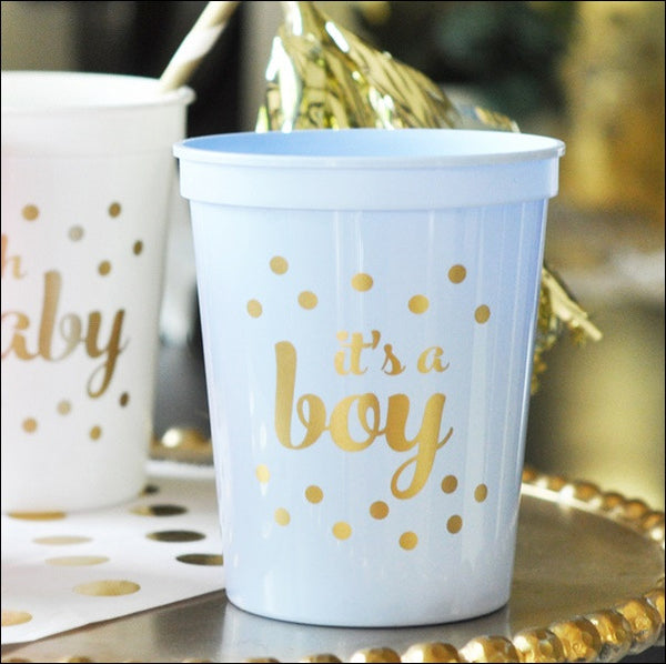 It's A Boy Blue & Gold Cups Set of 25 - Jaclyn Peters Designs - 1
