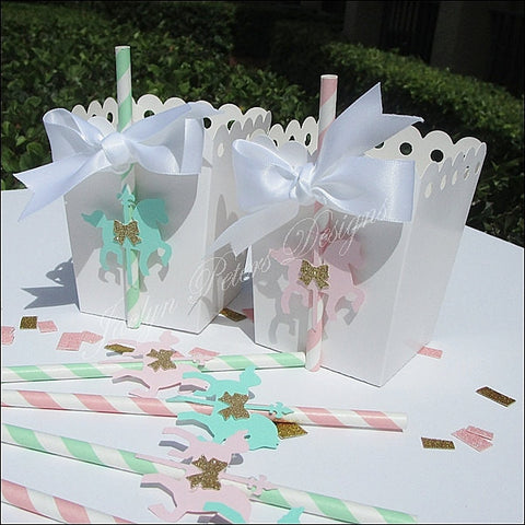 Vintage Baby Carousel Horse Popcorn Favor Boxes - Jaclyn Peters Designs - 1