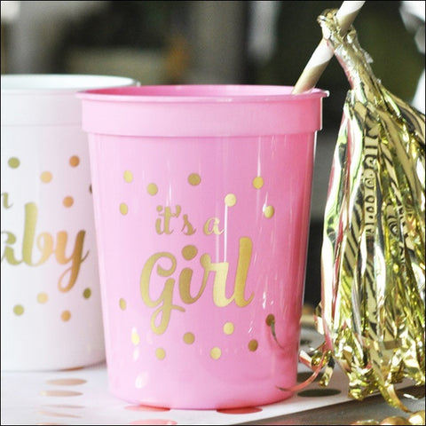 It's A Girl! Pink & Gold Party Cups Set of 25 - Jaclyn Peters Designs - 1