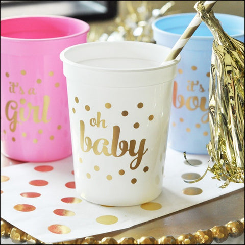Oh Baby! Gold Party Cups Set of 25 - Jaclyn Peters Designs - 1