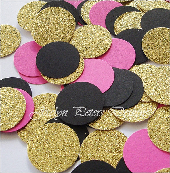 Hot Pink, Black & Gold Confetti - Jaclyn Peters Designs - 1