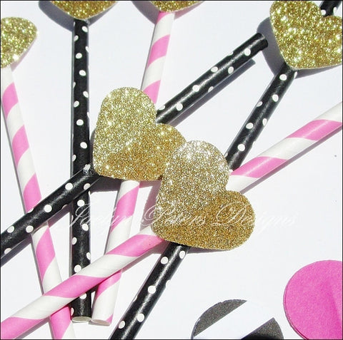 Bachelorette Party Straws Gold Glitter Hearts In Stripes And Dots - Jaclyn Peters Designs - 1
