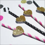 Bachelorette Party Straws Gold Glitter Hearts In Stripes And Dots - Jaclyn Peters Designs - 2