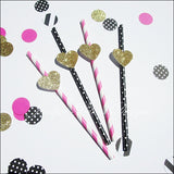 Bachelorette Party Straws Gold Glitter Hearts In Stripes And Dots - Jaclyn Peters Designs - 3
