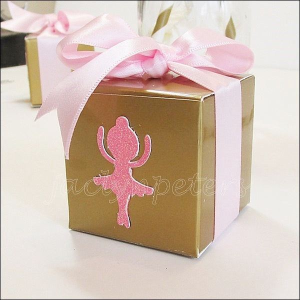 Gold And Pink Glitter Ballerina Candy Boxes Set Of 10