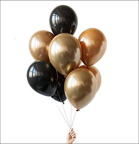 Gold And Black Onyx Party Balloon Bouquet