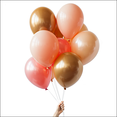 Coral, Peach And Gold Party Balloon Bouquet