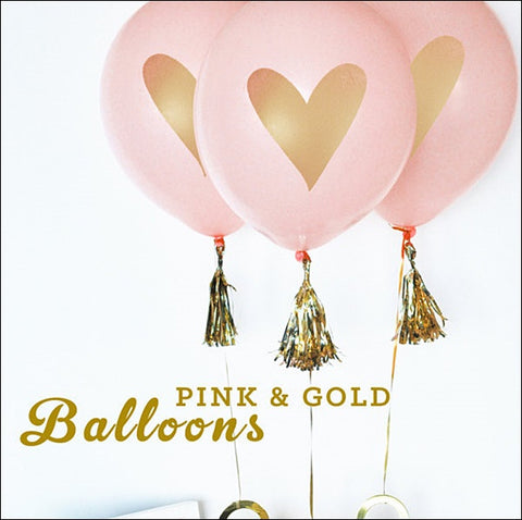Gold Heart Pink Balloons Set Of 6 - Jaclyn Peters Designs