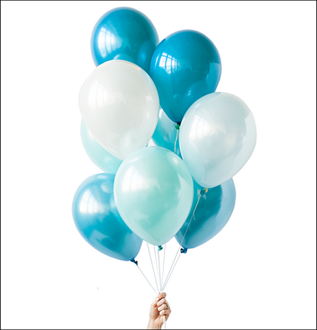 Teal Blue, Mint Green And Pearl White Party Balloon Bouquet