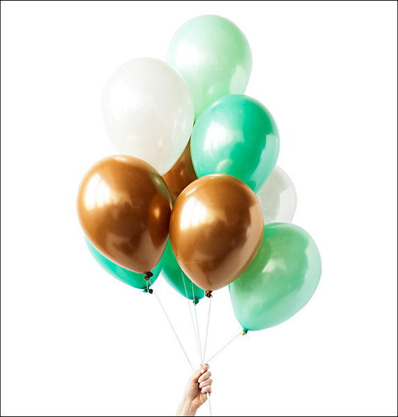 Mint Green, Gold And Pearl White Party Balloon Bouquet