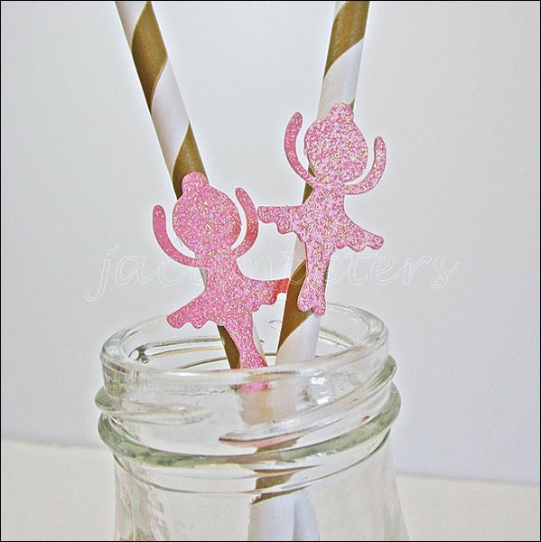 Pink & Gold Ballerina Straws - Jaclyn Peters Designs - 1