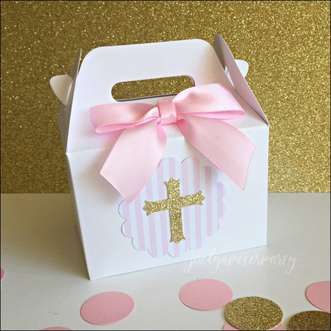 Baptism Gold Glitter Cross Mini Gable Favor Boxes With Bows