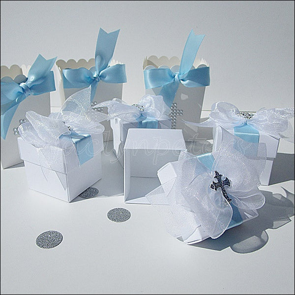 White & Silver Baptism Favor Box - Jaclyn Peters Designs - 1