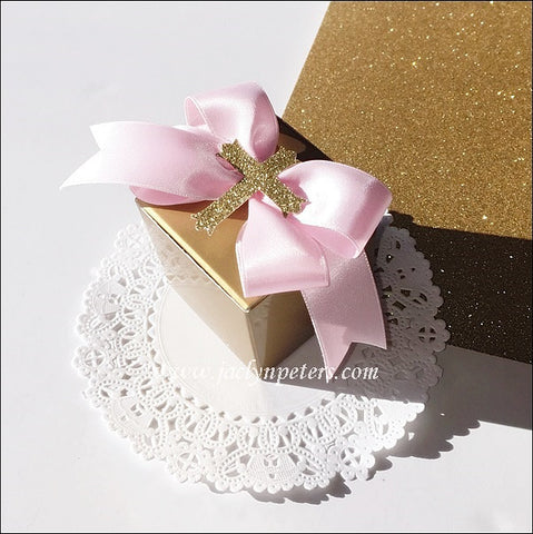 Girls Pink And Gold Baptism Favor Boxes