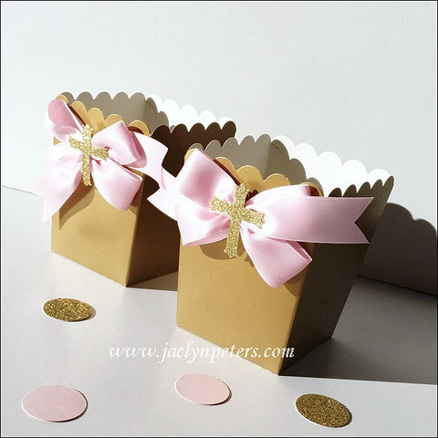 Girls Elegant Pink And Gold Baptism Popcorn Favor Boxes