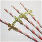 Gold Cross Baptism Party Straws - Jaclyn Peters Designs - 2