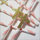 Gold Cross Baptism Party Straws - Jaclyn Peters Designs - 1