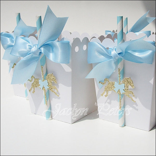 Blue & Gold Carousel Party Popcorn Favor Boxes - Jaclyn Peters Designs - 1