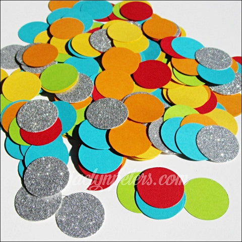 Beach Ball Theme Pool Party Confetti With Silver Glitter