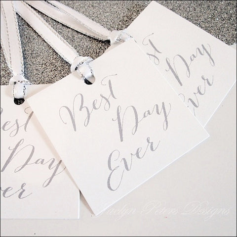 Best Day Ever Favor Tags - Choice Of Ribbon Color - Jaclyn Peters Designs - 1