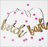 Bitch Bash Bachelorette Party Gold Glitter Banner