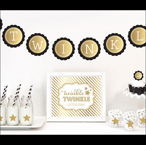 Black Gold Twinkle Little Star Party Kit