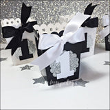 Little Gentleman First Birthday Black And White Popcorn Favor Boxes