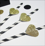 Black & White Stripe Straws With Gold Glitter Hearts - Jaclyn Peters Designs - 2