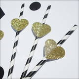 Black & White Stripe Straws With Gold Glitter Hearts - Jaclyn Peters Designs - 3