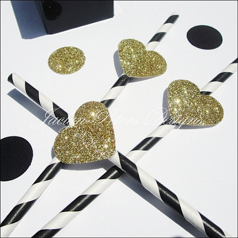 Black & White Stripe Straws With Gold Glitter Hearts - Jaclyn Peters Designs - 1