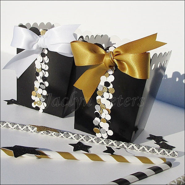 Black & Gold Favor Popcorn Boxes - Jaclyn Peters Designs - 1