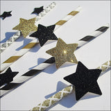 Black & Gold Star Party Straws - Jaclyn Peters Designs - 2