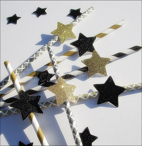 Black & Gold Star Party Straws - Jaclyn Peters Designs - 1