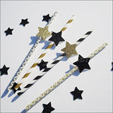 Black & Gold Star Party Straws - Jaclyn Peters Designs - 3