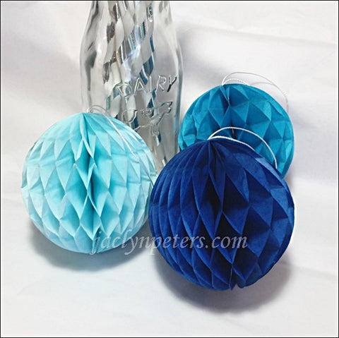 Decorative Mini Honeycomb Balls In Royal, Turquoise And Baby Blue