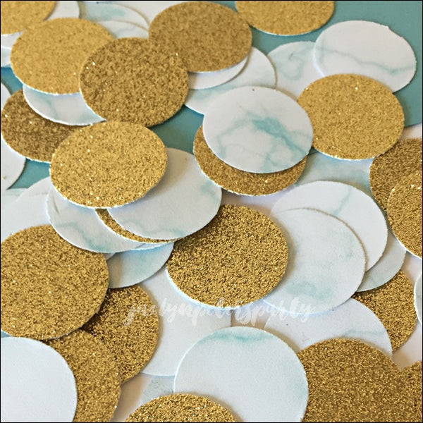 Baby Blue Marble And Gold Glitter Party Confetti