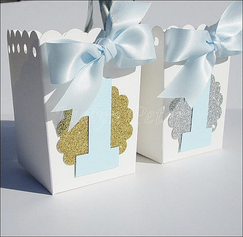 Boys First Birthday Popcorn Favor Boxes - Jaclyn Peters Designs - 1