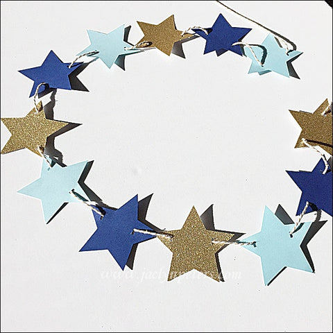 Blue & Gold Glitter Stars Party Banner