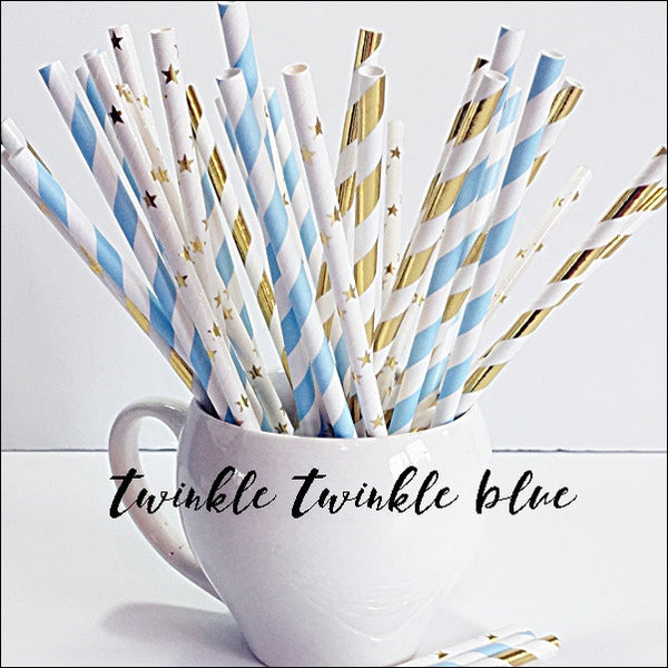 Twinkle Twinkle Little Star Blue And Gold Party Straw Mix Set Of 50