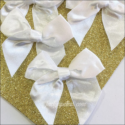 White Double Satin Self Stick Bows Set Of 12