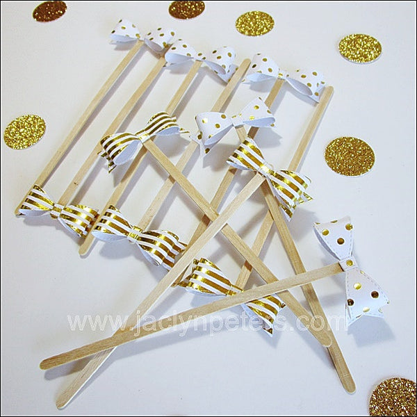 Gold Bow Party Swizzle Sticks - Jaclyn Peters Designs - 1