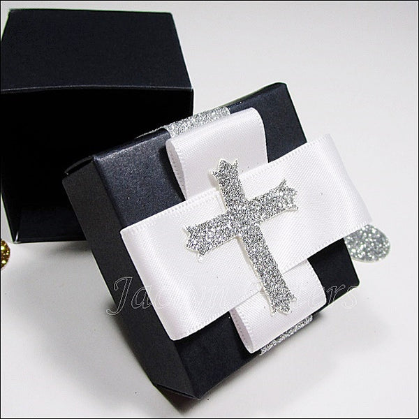 Navy Two Piece Cross Favor Box - Jaclyn Peters Designs - 1