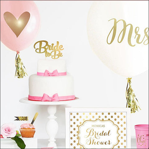 Bride To Be Gold Cake Topper