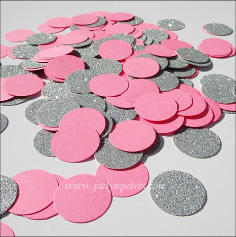 Bubble Gum Pink & Silver Glitter Confetti - Jaclyn Peters Designs - 1