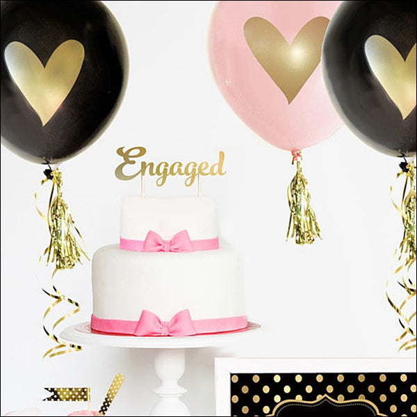 Engagement Party Gold Cake Topper - Jaclyn Peters Designs - 1