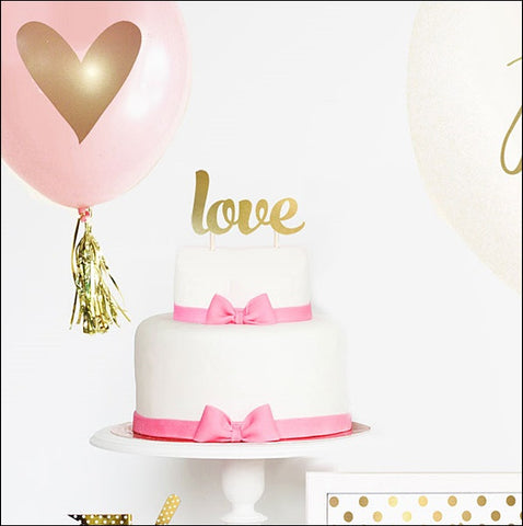 Love Gold Cake Topper - Jaclyn Peters Designs - 1